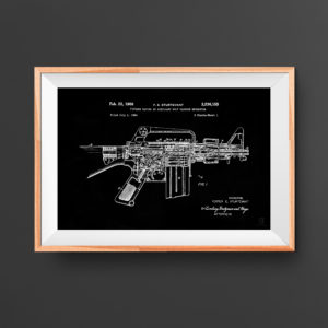 AR 15 Patent Poster - Guns, Weapons, Rifle Posters