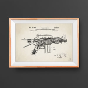 M16 Patent Poster - Guns, Weapons, Rifle Posters