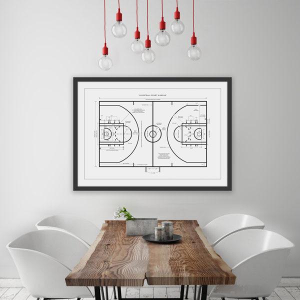 Basketball Court Diagram Schematics Poster