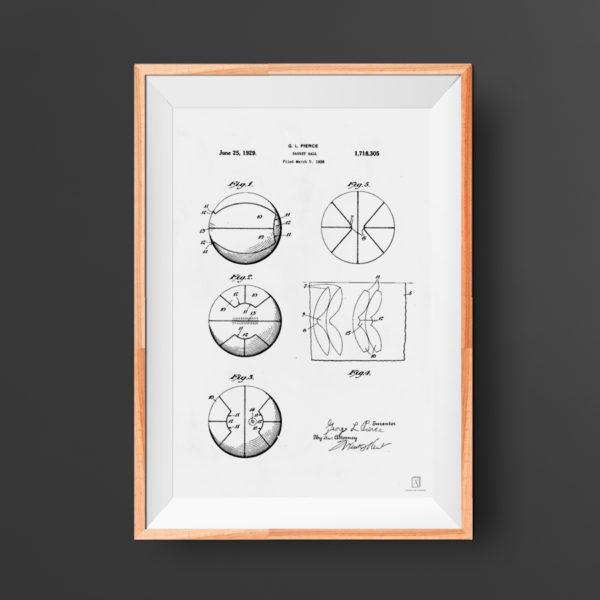 Basketball ball patent poster