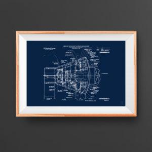 NASA Capsule Interior Poster
