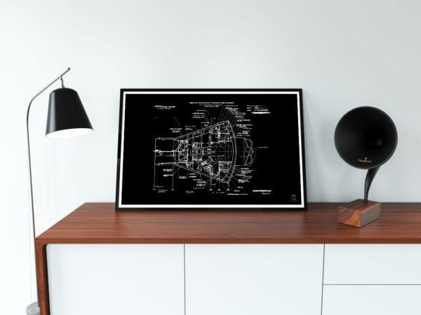 nasa, capsule, interior, spacecraft, poster, blueprint