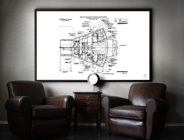 NASA Spacecraft blueprint poster
