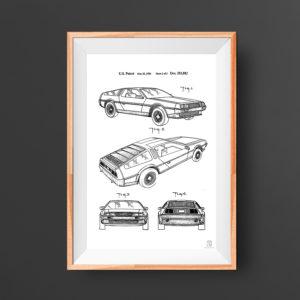 Delorian Car Patent Poster