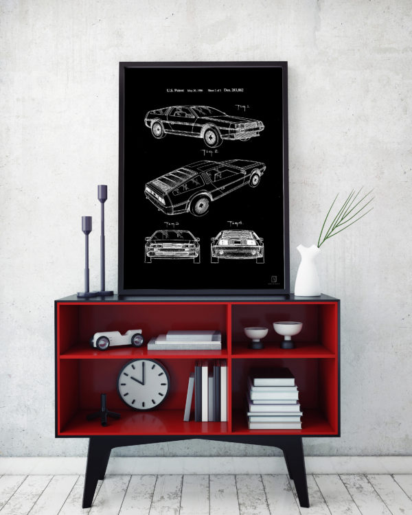 delorian, back to the future, patent, wall art, poster, garage