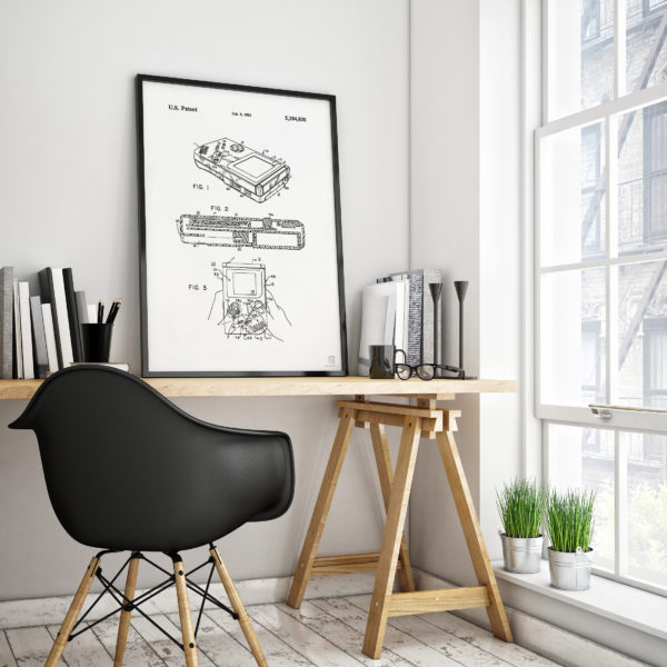nintendo, gameboy, poster, patent, wall art