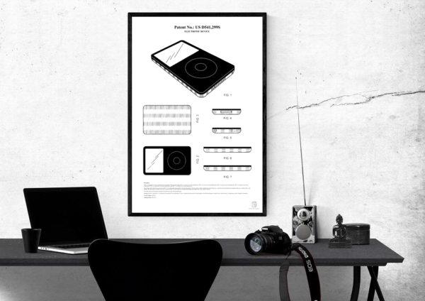 apple, steve jobs, patent, poster, iphone, ipod, wall art