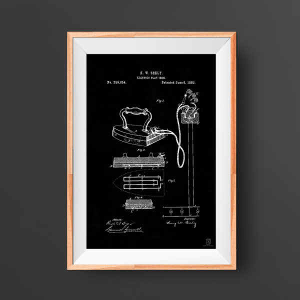 vintage, patent, flat iron, laundry room, poster