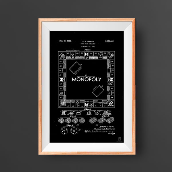 Monopoly Gameboard Patent Poster - Wall Art For Kids Room