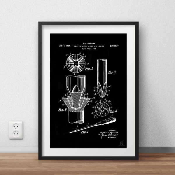 Phillips Screw Driver Patent Poster