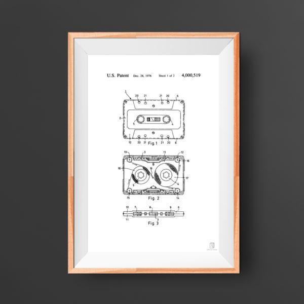 Cassette Tape Patent Poster - 90s Music Wall Art