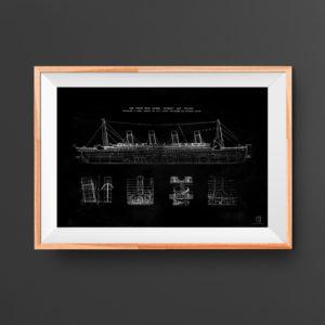 Titanic blueprint poster