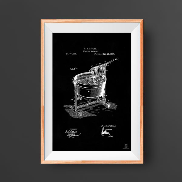 Washing Machine Patent Poster - Decor for Home Wall Art